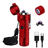 Waterproof Lighter, JiaDa Electric Lighter Flashlight USB Rechargeable Arc Lighter, Portable Handheld,IPX7 Water-Resistant for Outdoor Camping - 2 in 1 (Red)