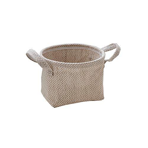 Keisl Aufbewahrungskörbe aus Jute- und Baumwollleinen, faltbar, mit Griff, dekorativ – Baumwollleinen, Leinen, Kleidungsaufbewahrung