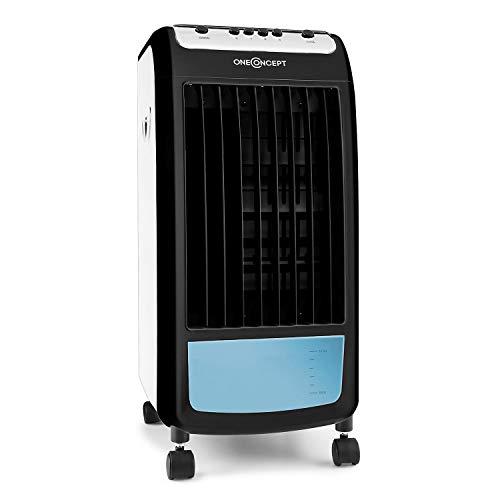 Oneconcept Caribbean Blue - Enfriador de aire portátil, Ventilador, Humidificador, 3 velocidades, Caudal de aire 400 m³/h, 70 W, Tanque 4 L, 2 recipientes hielo, Oscilación, 4 ruedas, Antracita