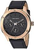 Vince Camuto - Reloj multifunción para hombre, color oro rosa y correa de piel negro