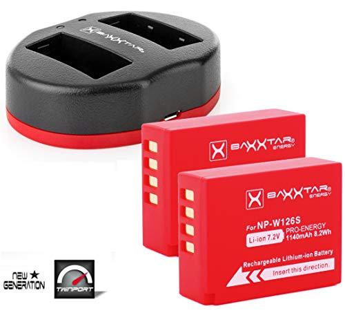 Baxxtar Pro Set - 2X Repuesto batería Fujifilm NP-W126s