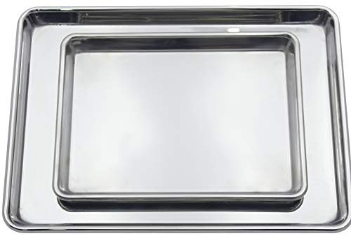 Checkered Chef Stainless Steel Baking Sheets - Heavy Duty Baking Pans - Set of Two - 1 Half Sheet Pan And 1 Quarter Sheet Pan