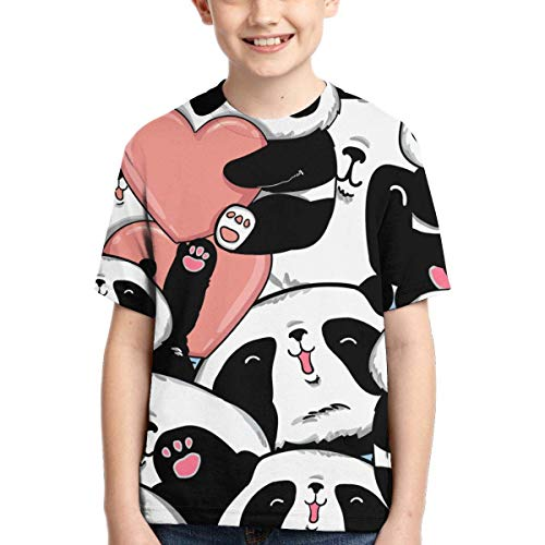 XCNGG Niños Tops Camisetas Youth Short Sleeve T-Shirts Valentines Day Panda Kids Casual Graphics Tees