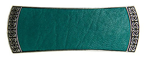 Celtic Leather Hair Clip, Medium Hand Crafted Metal and Leather Barrette Made in the USA with a 70mm Imported French Clip by Oberon Design, 3 Colors, Teal