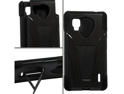 Generic Dual Layer Cover with Kickstand for LG Optimus G LS970 - Retail Packaging - Black