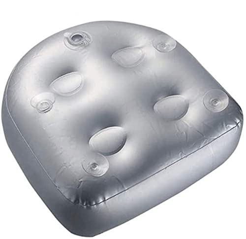 woejgo Spa Booster Kissen, Spa MassageKissen mit Saugnäpfen, Aufblasbares Sitzkissen für Whirlpool Spa Badewanne. (Grau)