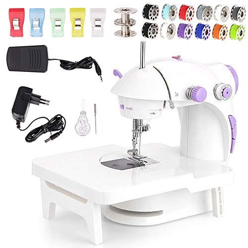 Faburo Mini Máquina de Coser Eléctrica con Lámpara, Máquina de Coser Eléctrica Doméstica con Bastidor de Expansión y Carretes y Clip de Costura Hilo