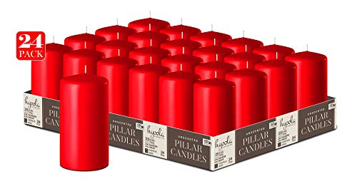 Hyoola Rot Stumpenkerzen 50 X 101 mm - 24er Pack - 25 Stunden Brenndauer - Unparfümiert Groß Stumpen Kerzen
