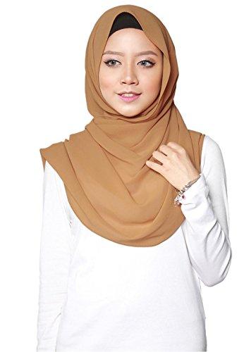 SAFIYA - Hijab Kopftuch für muslimische Frauen I Islamische Kopfbedeckung 75 x 180 cm I Damen Gesichtsschleier, Schal, Pashmina, Turban I Musselin / Chiffon - Braun