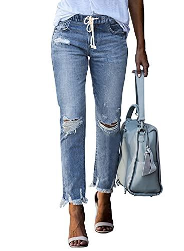 Dokotoo Women's Classic High Rise Boyfriend Jeans Stretchy Drawstring Elastic Waist Row Hem Ripped Distressed Denim Pants Cute Jeans for Women S Sky Blue