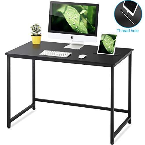 FITUEYES Mesa de Ordenador con Ranura Escritorio para computadora 110x60x75 Madera y Metal Negro CD111001WB
