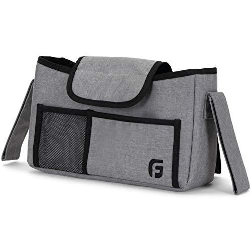 GranFore Kinderwagen Organizer - Großes Netzfach außen - Baby Tasche mit 2 isolierten Innentaschen - Als Buggytasche oder Tragetasche - Tasche Kinderwagen grau