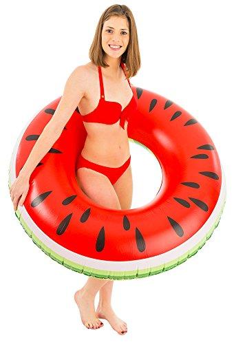 Didak XL Wassermelonen Schwimmreifen 110 cm - Schwimmring für Pool Meer Urlaub