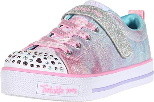 Skechers Kids Girl's Twinkle LITE Sneaker, Light Pink/Multi, 10.5 Medium US Little Kid