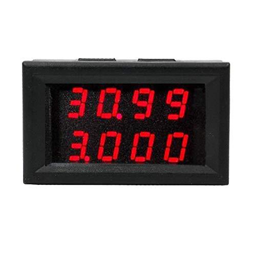HEQIE-YONGP Voltímetro Digital 0,28 Pulgadas Red Led Doble Pantalla Digital DC0.00-33.00v 0.000-3.000A Tensión Corriente del amperímetro del voltímetro Mostrar frecuencia de Voltaje