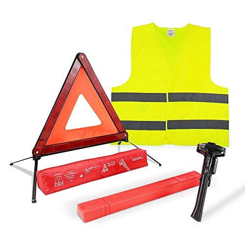MYSBIKER Triángulo de advertencia triple Advertencia de emergencia, equipo de triángulo de seguridad con reflector de triángulo (Kit)