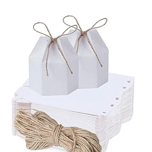 30 Piezas Caja Del Favor De La Boda, Caja Caramelos, Caja De Regalo De Fiesta De Bricolaje, Papel Kraft Hexagonal Caramelo Cajas Regalo Para Bodas, Fiestas De Cumpleaños, Aniversarios (Blanco)