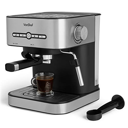 VonShef 15 Bar Espresso Machine - 2 Cup Coffee Maker, Barista Style & Stainless Steel with Pressure Pump, Milk Frother Foaming Wand & 1.5L Water Tank for Latte, Cappuccino, Americano & Flat White