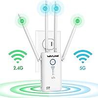 WAVLINK AC1200 Dual Band WiFi Range Extender, Repetidor WiFi/Modo Punto de Acceso (Modo Ap)/ Router, 5GHz 867Mbps+2.4GHz 300Mbps(WPS, indicador LED, 4x5dBi Alta Gain Antenas Externas) Blanco