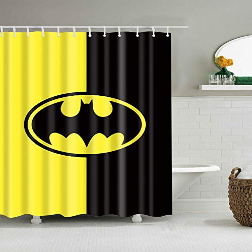 Batman Bathroom Shower Curtain Stylish Cartoon Bat Signal Yellow Black Backgro& Decor Kid's Bathroom with Hooks Waterproof Washable Polyester Fabric Modern Fashion Gift 60X72 Inch