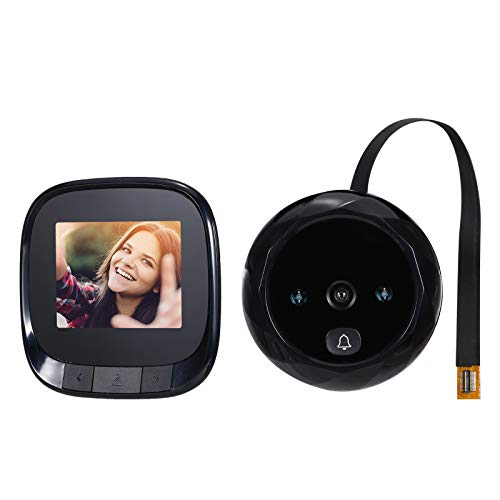 Walory Visor de Puerta Digital,Mirilla Cámara de Puerta Timbre de 0.3MP Pantalla LCD de 2.4 Pulgadas Visión Nocturna Toma de fotografías Monitoreo de Puerta Digital para Seguridad en el hogar