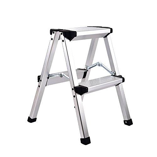 LRZLZY Haushaltsleiter Teleskophubsäule Innenaluminiumlegierung Klapp Treppe multifunktionales Portable Trittleiter Fischgrät-Ladder Stabilität und Sicherheit (Color : White)