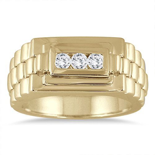 1/4Carat TW hombre Rolex de diamante anillo en 10K oro amarillo