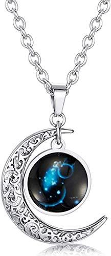 DUEJJH Co.,ltd Collar 12 Constelación Luminoso Estrella y Luna Collar Combinación Regalo de cumpleaños Astrología Acero de Titanio Símbolo de la Suerte Colgante Piscis-Acuario