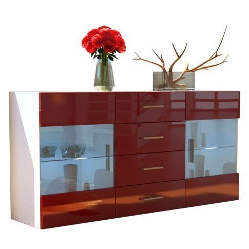 mobile credenza madia Open bianco bordeaux rosso lucido 139