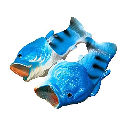 Mengxx Unisex Lustige Tier Hausschuhe Strand Fisch Sandalen Bad Hausschuhe Strand Pool Schuhe Dusche Flip Flops Schuhe (42/43 EU, Blau)