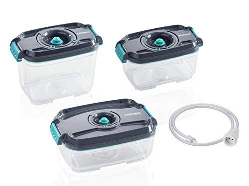 Leifheit 3er Set Vakuum-Frischhaltedosen, luft- und wasserdichte Vorratsdose, Dosen passend für Leifheit Vakuumiergeräte, BPA-frei & spülmaschienengeeignet, zum Einfrieren und die Mikrowelle geeignet