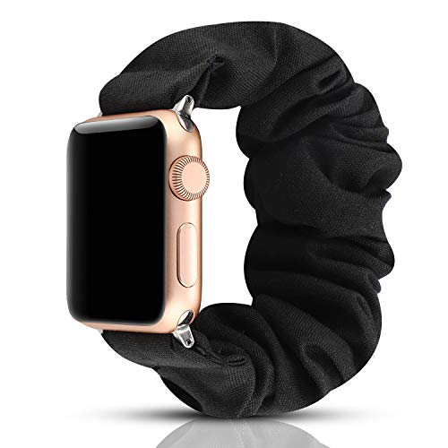 YOSWAN Scrunchie Elastic Watch Band Compatible with Apple Watch Band 38mm 40mm Women Girls Cloth Hair Rubber Band Strap Bracelet for iwatch SE Series 6 5 4 3 2 1 (Black, 38mm/40mm)