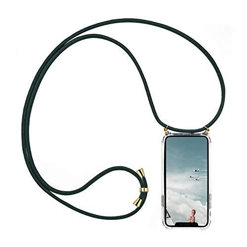 Verco Funda con Cuerda para iPhone SE, Carcasa Transparente TPU Suave Silicona Case para Apple iPhone 5 / 5s / SE con Correa Colgante, [Cordon para Llevar en el Cuello], Verde