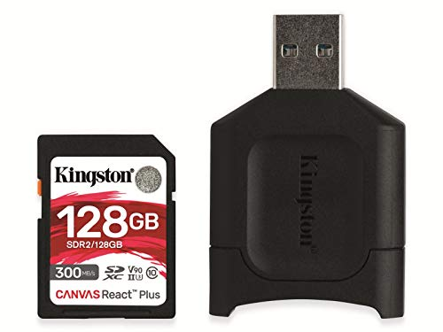Kingston MLPR2/128GB SD Karten+ Kartenlesegeräte ( 128GB SDXC React Plus SDR2 + MLP Kartenlesegerät für SD )