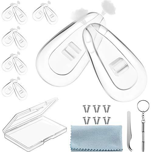 Nasenpads für Brillen, Reparatur Kit für Brillen, Nasenpads zum Einschrauben, Nasenpads für Weiche Silikon Brillen mit Schrauben Schraubendreher Pinzette Reinigungstuch (6)