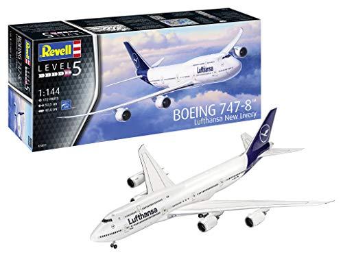 Revell 03891 Passagierflugzeug Boeing 747-8 Lufthansa New Livery, 1:144/52,5 cm Modelmaking, unlackiert