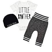 Newborn Baby Boy Clothes Little Brother Letter Print Short Sleeve Romper Pants Hat 3Pcs Outfits Set 0-3 Months White