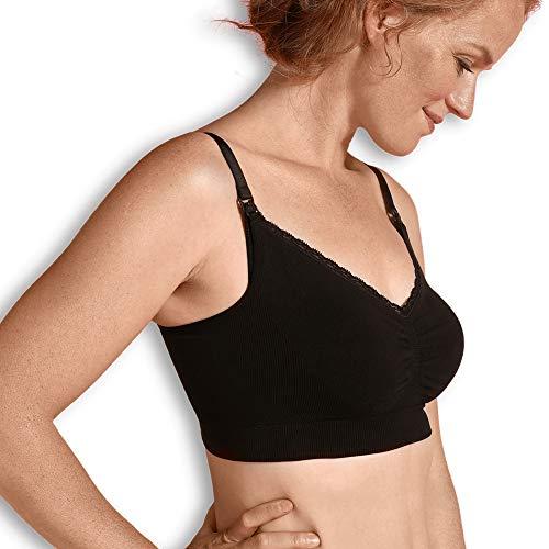 CARRIWELL Bio Still-BH, nahtloser Schwangerschafts-BH aus weicher Bio-Baumwolle, atmungsaktiv, schwarz, Größe: S