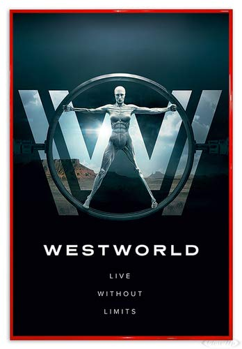 Close Up Westworld Poster Live Without Limits (94x63,5 cm) gerahmt in: Rahmen rot