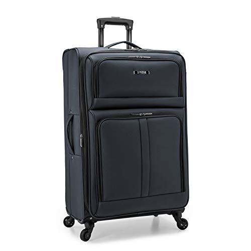 U.S. Traveler Anzio Softside Expandable Spinner Luggage, Dark Grey, Checked-Large 30-Inch