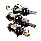 YIFEI2013-SHOP Botellero Vino Doble S Mostrador de Vino en la encimera Estante de Escritorio de Metal for Ahorrar Espacio en el Escritorio (para 4 Botellas) Estantería Vino