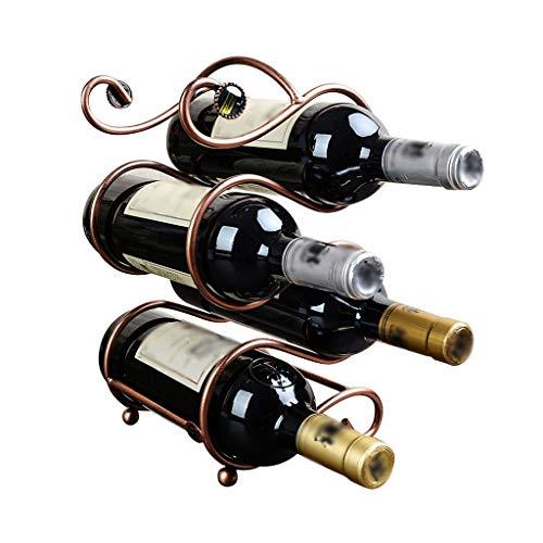 QTBH Botelleros Botellero de Escultura Doble S Mostrador de Vino en la encimera Estante de Escritorio de Metal for Ahorrar Espacio en el Escritorio (para 4 Botellas) Estante de Almacenamiento de Vino