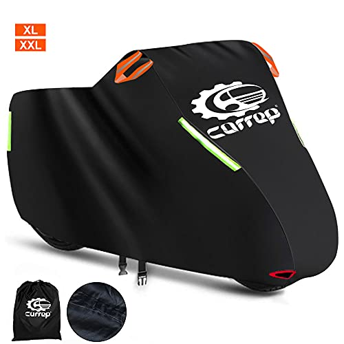Upgraded XXL Motorcycle Cover Waterproof Outdoor - Thicker and Tear Proof Scooter Cover Against Dust Rain UV - Compatible with 104   Harley Davison, Honda, Yamaha (XXL)