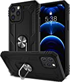 SALITOG Compatible with iPhone 12 Pro Max Case, Military-Grade Shockproof Drop Protection Cover with Metal Rotating Kickstand for 6.7inch - Black