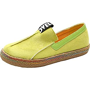 Wealsex Women Ladies Round Toe Suede Plimsolls Slip On Comfortable Loafers Flats Vintage Soft Boat Shoes (Yellow UK 4)