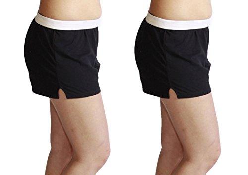 Jerzees Juniors Pack of 2 Womens Gym/Running/Yoga/Cheer Shorts (S, Black 2-Pack)