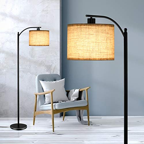 Floor Lamp for Living Room, Standing Lamp with Hanging Linen Lamp Shade and 9W LED Bulb, Modern, Industrial Reading Light, Floor Lamps for Office, Bedrooms, Farmhouse, Black