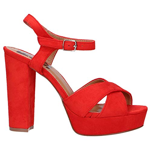 REFRESH - Sandalia DE Tacon con Plataforma Color: Rojo