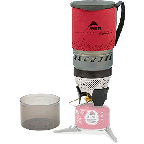 MSR WindBurner Personal Stove System for Fast Boiling Fuel-Efficient Cooking for Backpacking, Solo Travelers, and Minimalist Trips, 1.0-Liter, Red