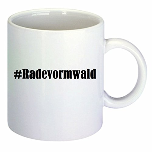 Kaffeetasse #Radevormwald Hashtag Raute Keramik Höhe 9,5cm ? 8cm in Weiß